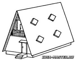 Дом с крышей типа «шалаш» с окнами