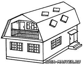 Дома с двускатной ломаной крышей с окнами