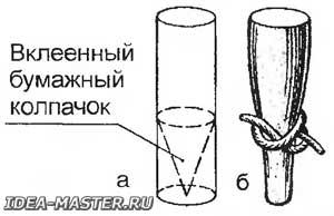 Стаканчик для формирования кисточки и перевязанный пучок волос