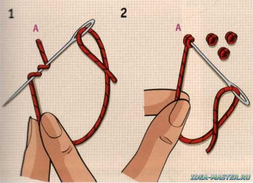 Вышивание как делать узелки