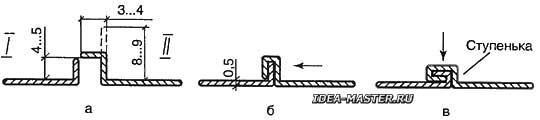 Формирование фальца при соединении двух листов