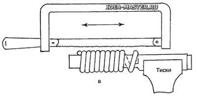 Так разрезают «пружину» для получения звеньев цепи