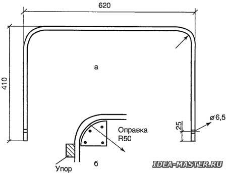 Подвижная опора из трубы и приспособления для изгиба трубы